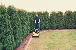 Nuran Sadiku von Gartenpflege Sadiku aus Gänserndorf beim Vertikutieren